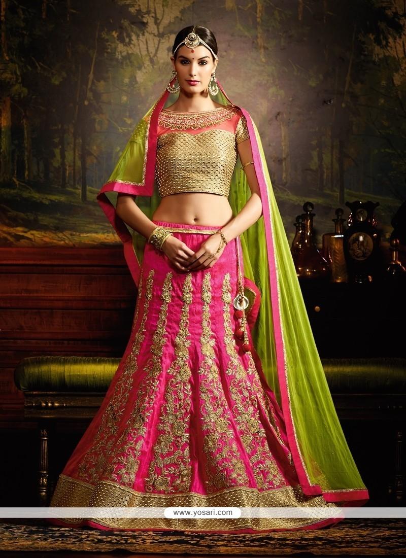 Gratifying Silk Hot Pink A Line Lehenga Choli