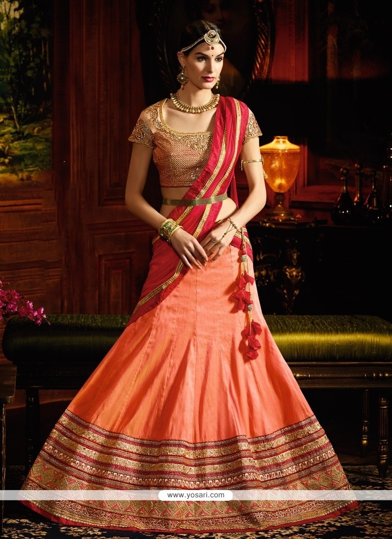 Fascinating Orange A Line Lehenga Choli