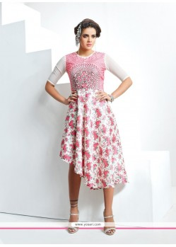 Sightly Black, Off White And Pink Party Wear Kurti
