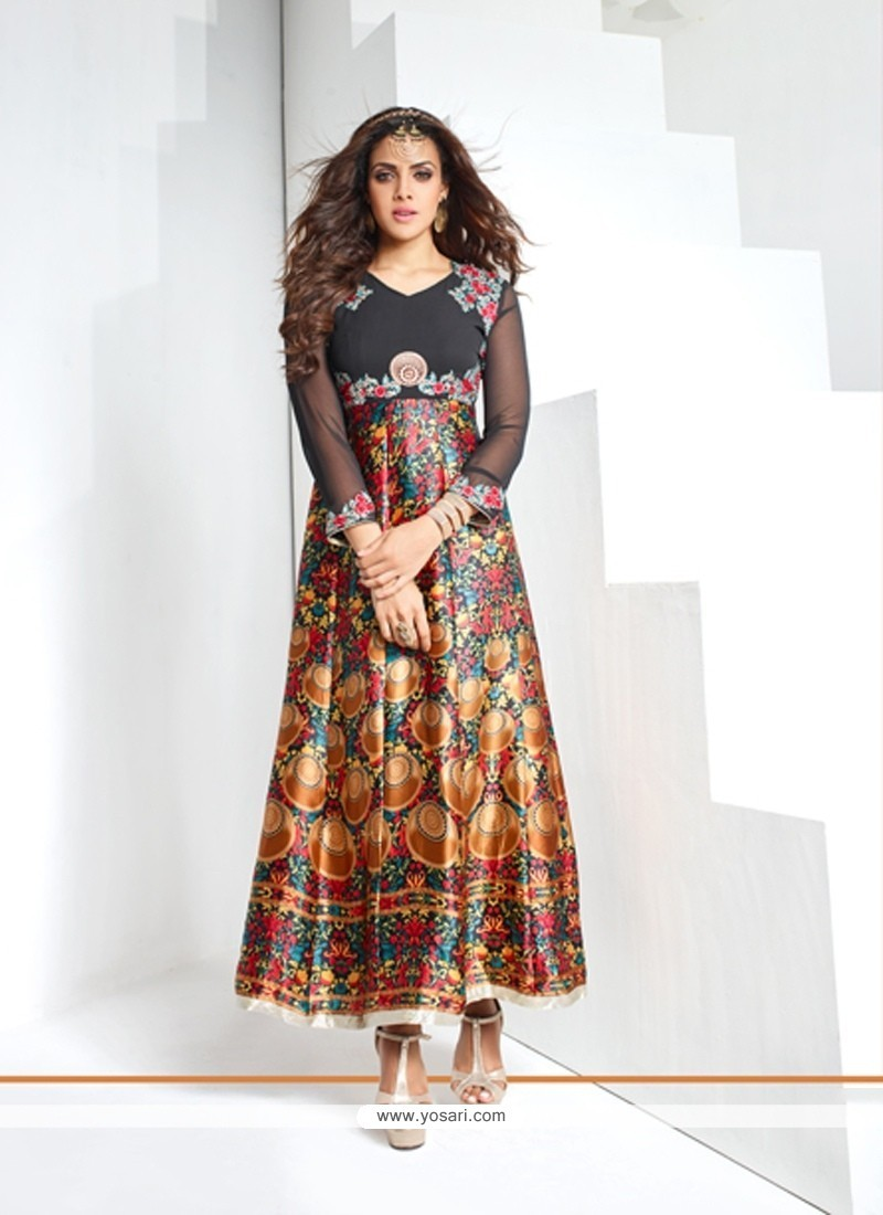 Lovable Print Work Multi Colour Georgette Party Wear Kurti