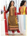 Yellow And Brown Georgette Churidar Suit
