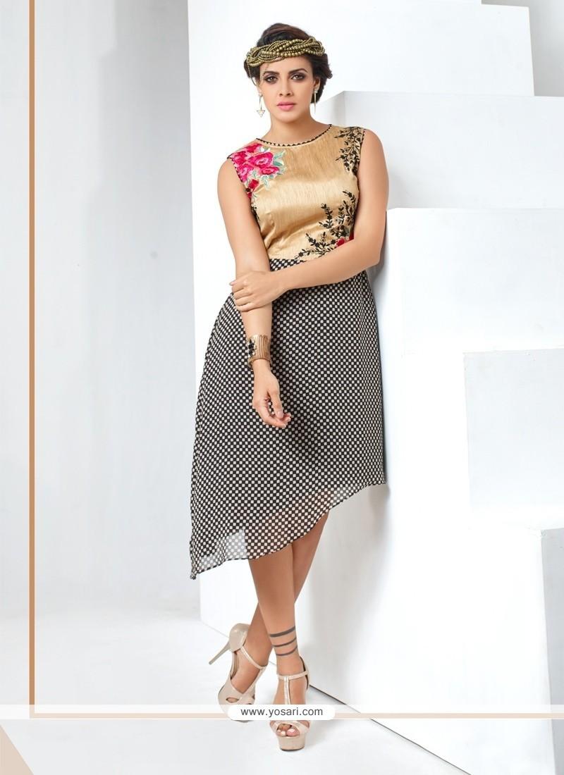 Enticing Grey Banglori Silk Party Wear Kurti
