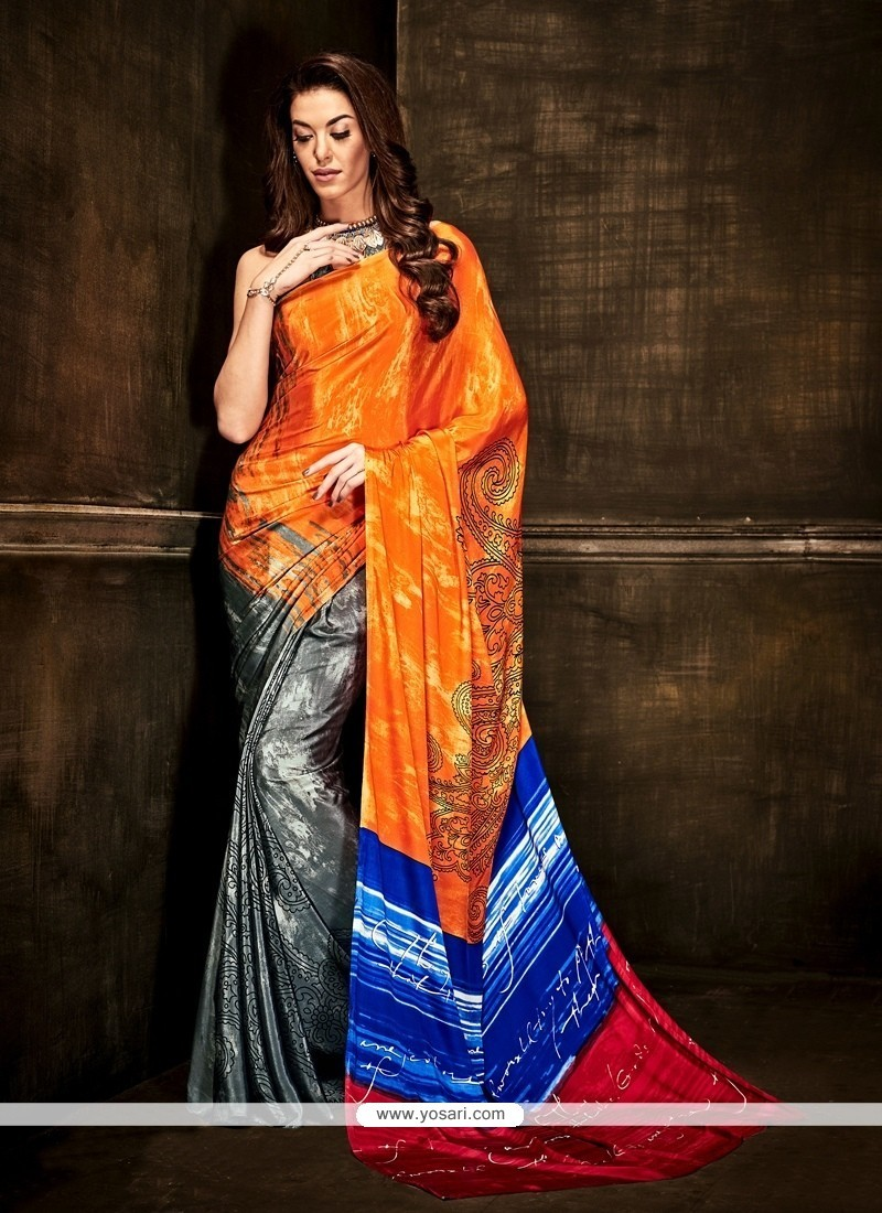 Intriguing Crepe Silk Multi Colour Casual Saree