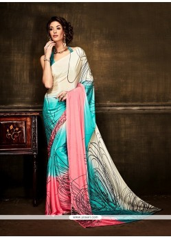 Enthralling Multi Colour Print Work Crepe Silk Casual Saree
