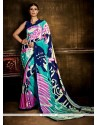 Multi Colour Print Work Crepe Silk Casual Saree