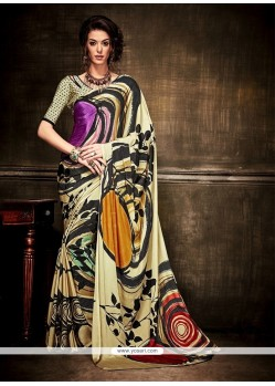 Flattering Crepe Silk Print Work Casual Saree
