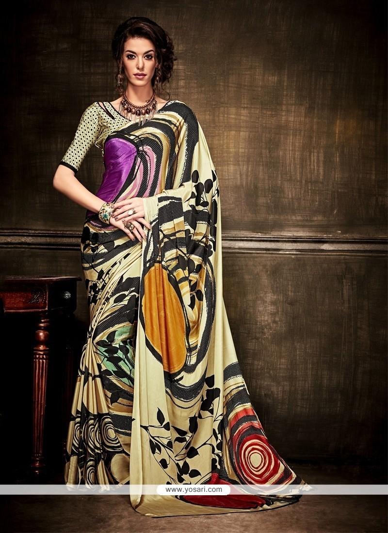 Flattering Crepe Silk Print Work Casual Saree