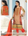 Orange And Cream Georgette Churidar Suit