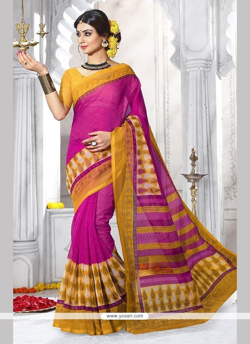 Excellent Hot Pink Casual Saree