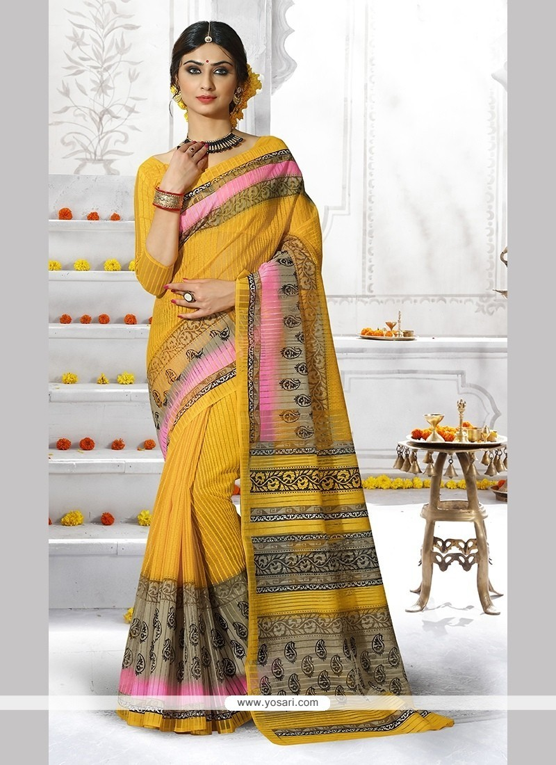 Lavish Print Work Yellow Casual Saree