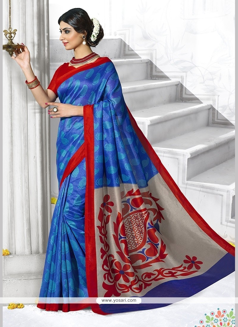 Prepossessing Art Silk Print Work Casual Saree