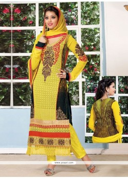 Yellow And Black Georgette Churidar Suit