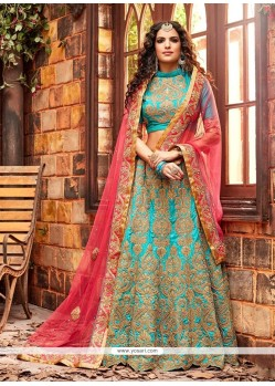 Pristine Patch Border Work Turquoise A Line Lehenga Choli