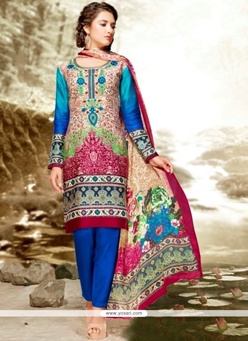 Transcendent Multi Colour Embroidered Work Satin Pant Style Suit