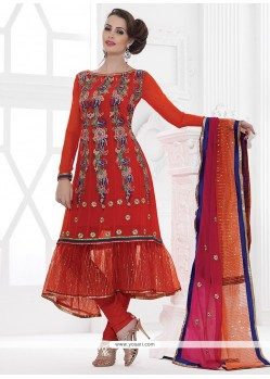 Orange Net And Georgette Churidar Suit