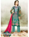 Congenial Embroidered Work Satin Multi Colour Pant Style Suit