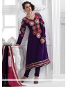 Blooming Purple Georgette Churidar Suit