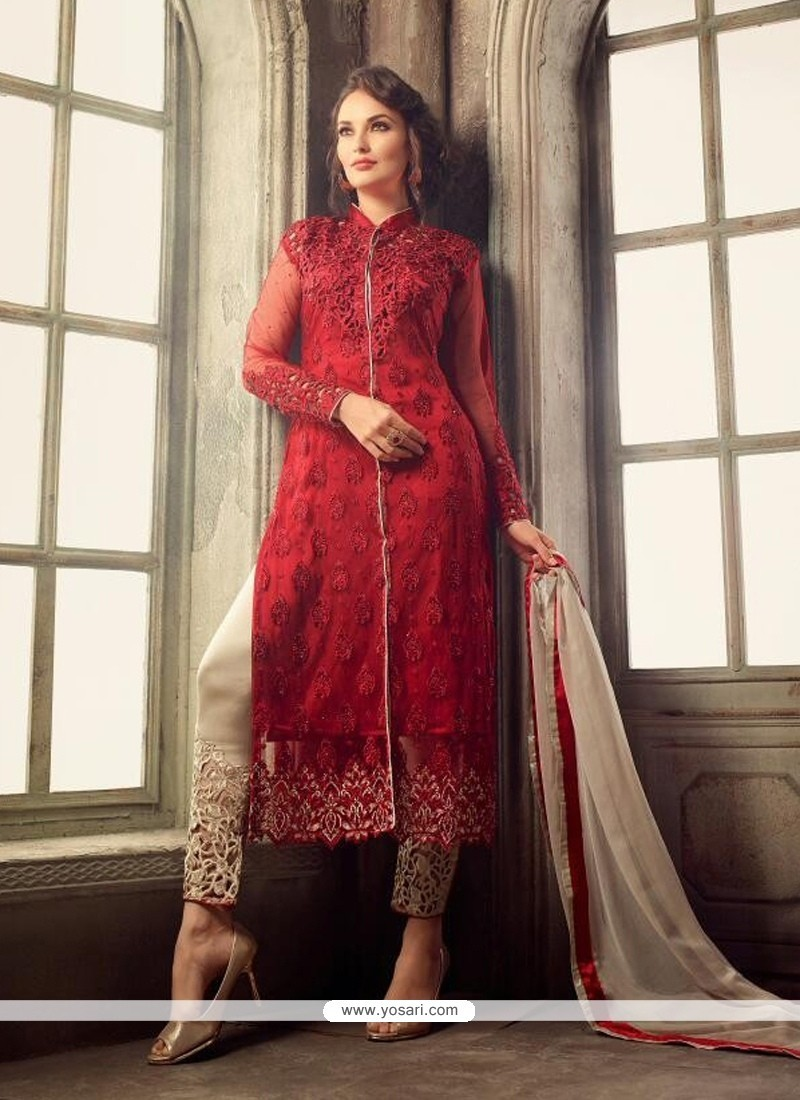Glossy Resham Work Pant Style Suit