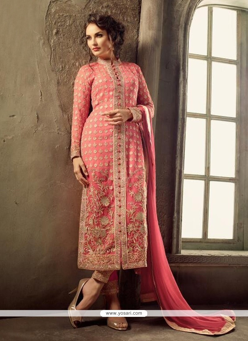 Artistic Zari Work Georgette Designer Straight Salwar Kameez