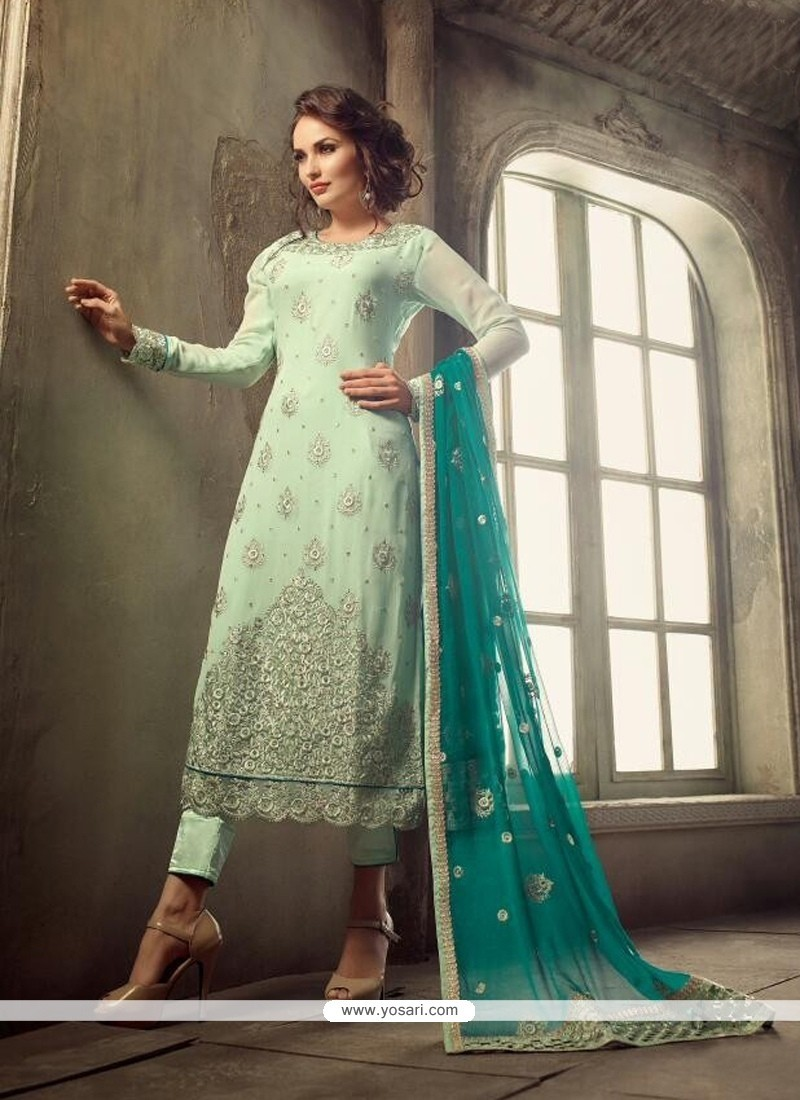 Imposing Sea Green Pant Style Suit