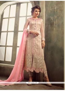 Flamboyant Net Pink Churidar Salwar Kameez