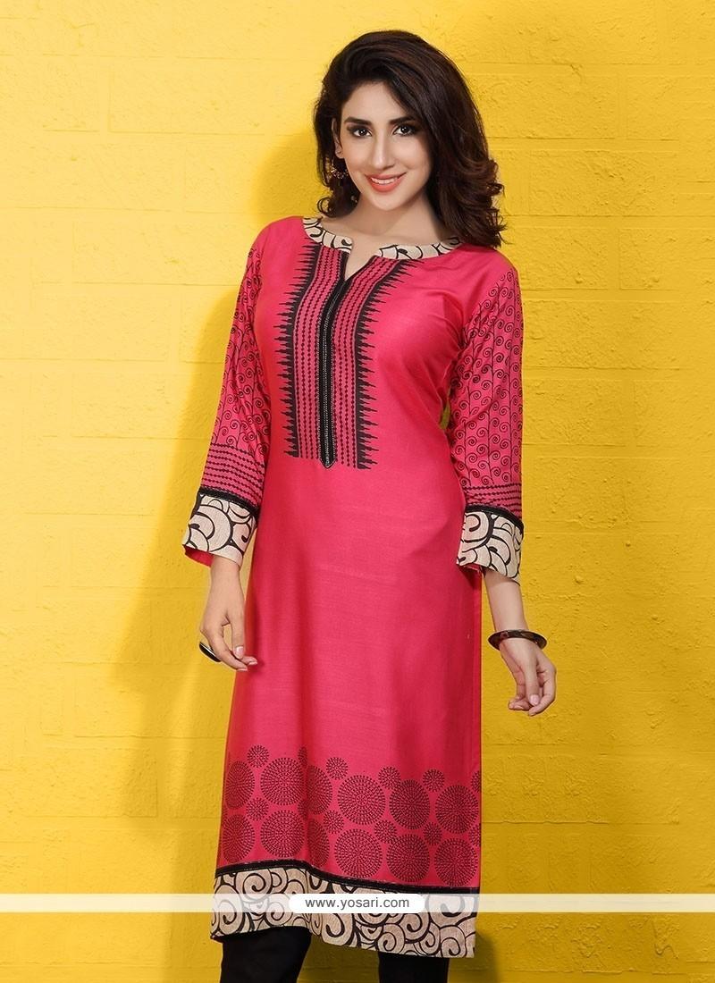 Nice Cotton Hot Pink Print Work Party Wear Kurti