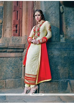 Fab Cream Georgette Churidar Salwar Kameez
