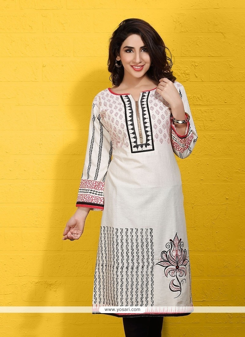 Stupendous Off White Party Wear Kurti