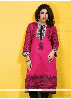 Hot Pink Cotton Party Wear Kurti