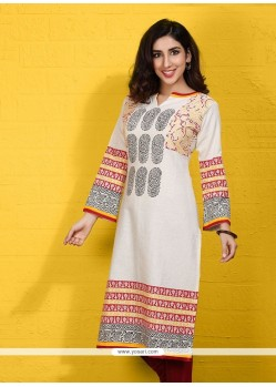 Beauteous Beige Cotton Satin Party Wear Kurti