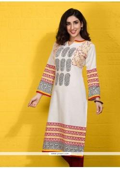 Beauteous Beige Cotton Satin Party Wear Kurti