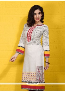 Cute Print Work Party Wear Kurti