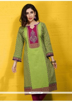 Delightsome Green Print Work Cotton Party Wear Kurti