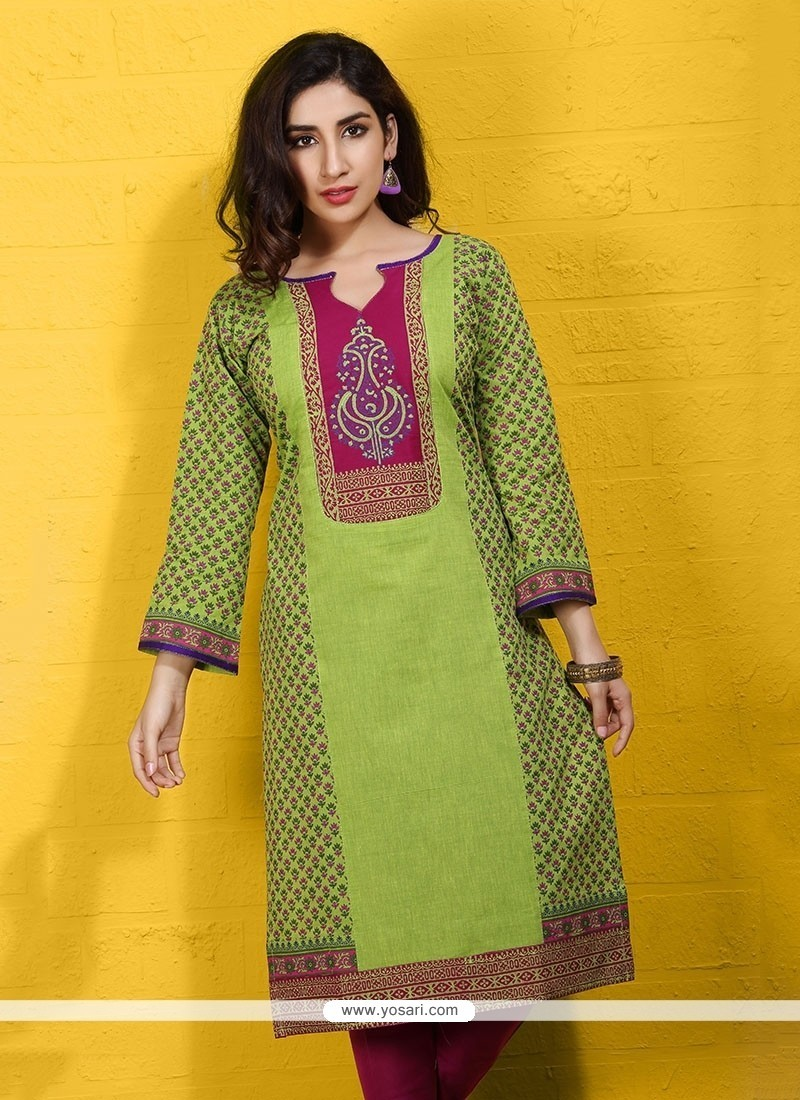 Delightsome Green Print Work Cotton Party Wear Kurti