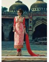 Red And Cream Zari Work Churidar Salwar Suit