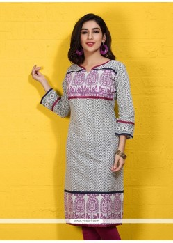 Fantastic Cotton Print Work Party Wear Kurti