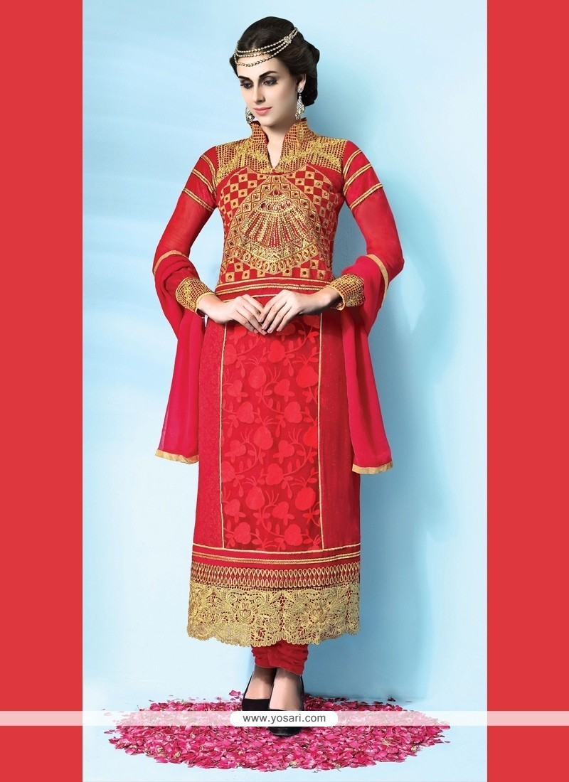 Picturesque Georgette Red Designer Suit