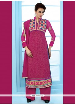 Groovy Hot Pink Patch Border Work Net Designer Suit