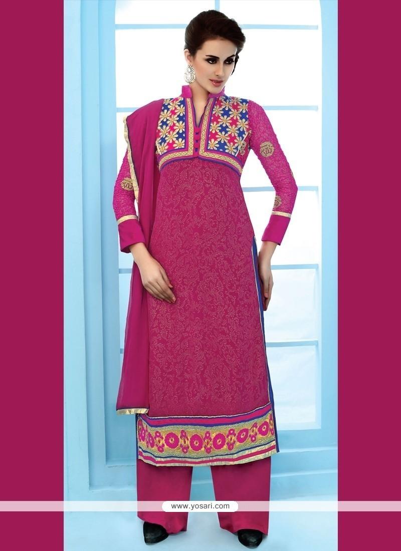 Groovy Hot Pink Patch Border Work Net Designer Suit