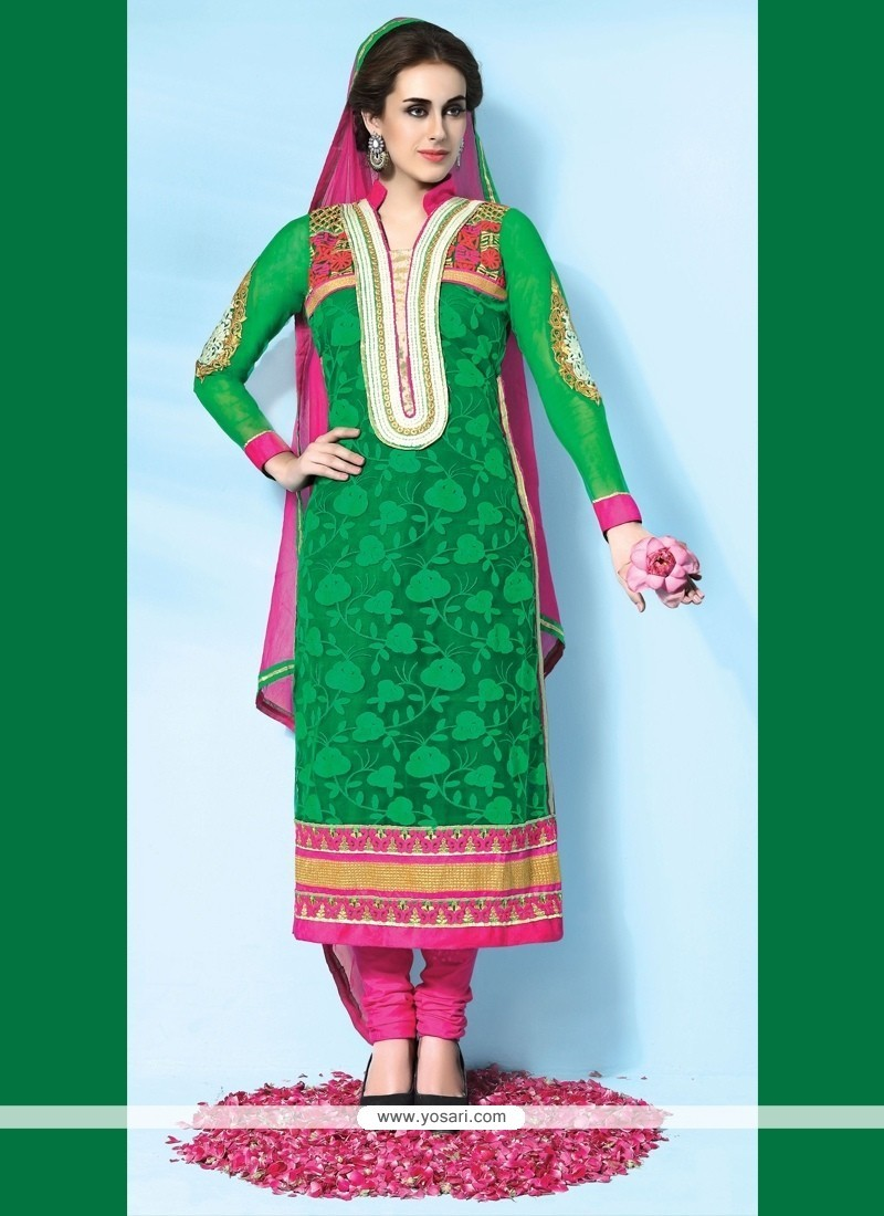 Prominent Embroidered Work Net Designer Suit
