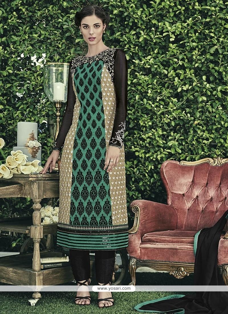 Cherubic Faux Chiffon Embroidered Work Designer Straight Salwar Kameez