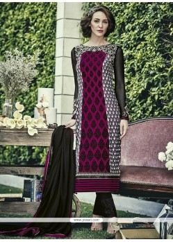 Elite Embroidered Work Magenta Faux Chiffon Designer Straight Salwar Kameez