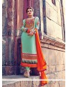 Sea Green Embroidery Work Churidar Suit