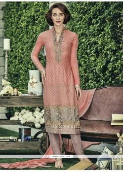 Aesthetic Peach Embroidered Work Faux Chiffon Designer Straight Salwar Kameez