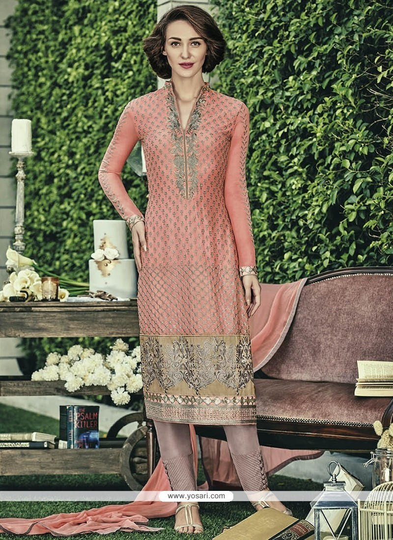 Aesthetic Peach Embroidered Work Faux Chiffon Designer Straight Salwar Kameez