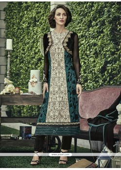 Suave Faux Chiffon Print Work Designer Straight Salwar Kameez