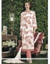Monumental Print Work Off White Faux Chiffon Designer Straight Salwar Suit
