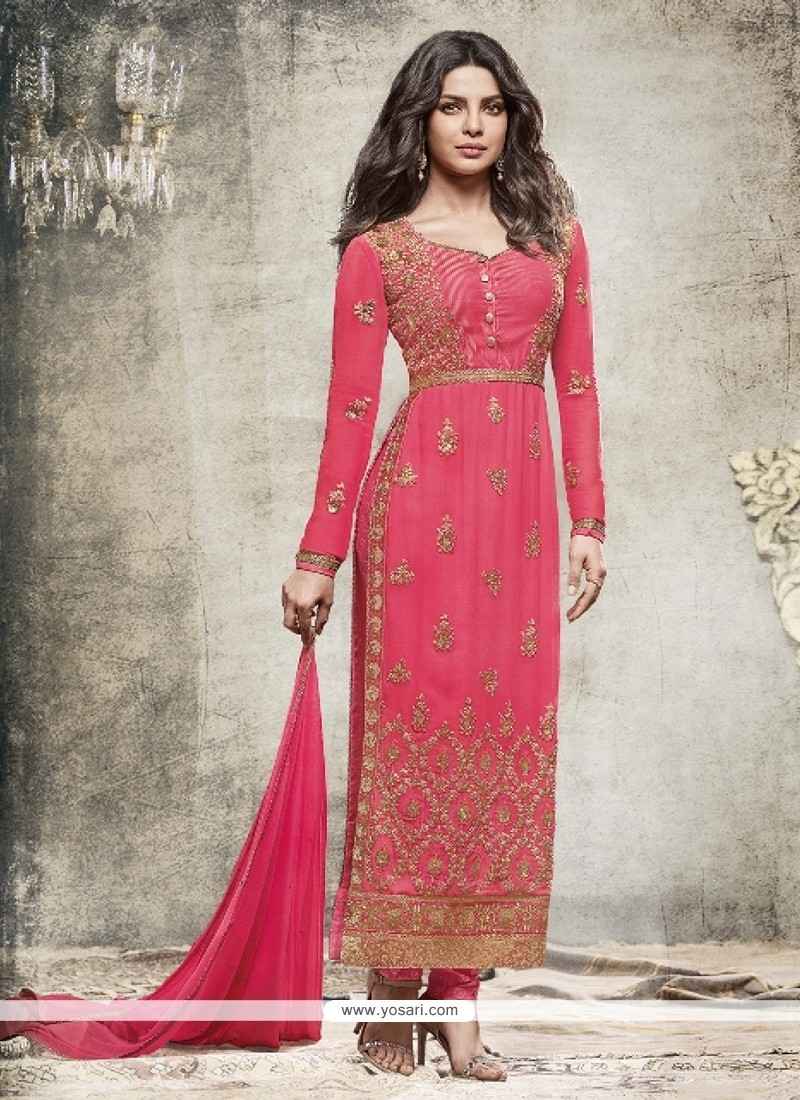 6c0856cca4 Buy Priyanka Chopra Resham Work Georgette Churidar Designer Suit ...
