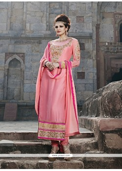 Radiant Pink Georgette Churidar Salwar Kameez