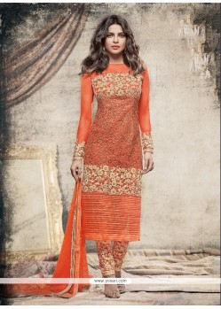 Priyanka Chopra Resham Work Orange Churidar Salwar Suit